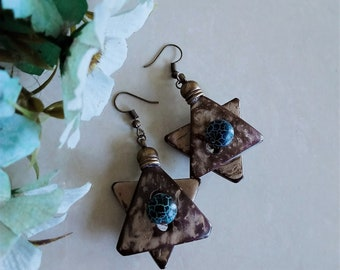 Hand painted on coconut Earrings ethic designs hand made  boho folk hippy crafted geometric triangle green purple b turquoise gold  gift