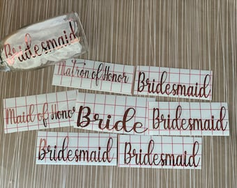 Wedding party decals, bridesmaid decal, maid of honor decal, bride decal, wine glass decal, champagne glass decal, wedding decal with date