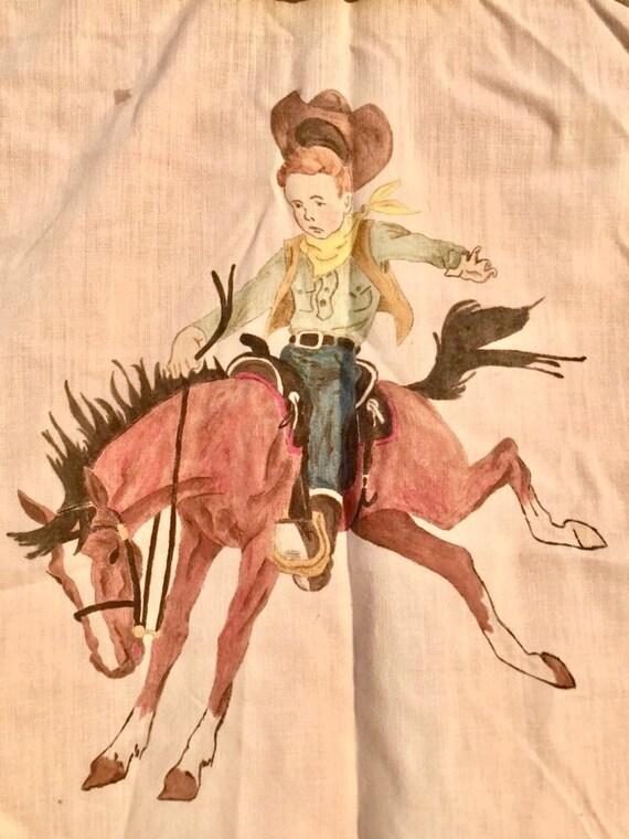 1950's Hand Drawn Cowboy Bronc-Buster Sleeveless T