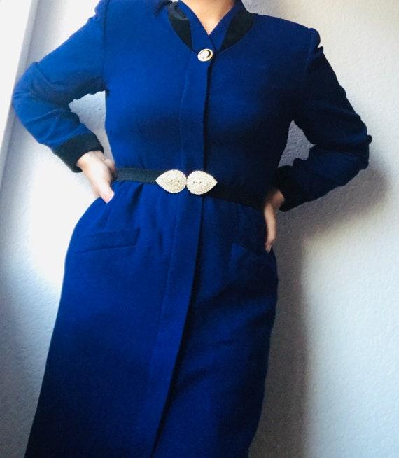 Vintage Royal Blue Wool Coat Velvet Trim