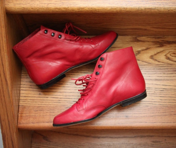 Vintage 9 West Ankle Granny Booties, Red Leather,