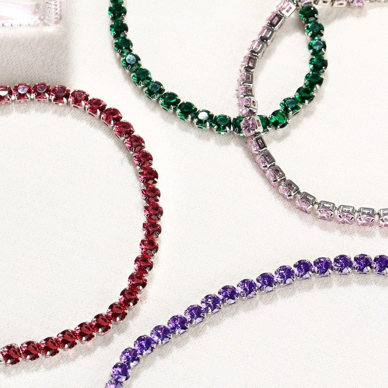 Personalized Tennis Bracelet Silver Plated Adjustable Crystal Chain Bracelets Women Stretch Bracelet