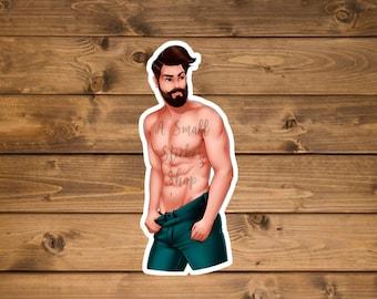 Beard man sticker, Hot guy Sticker, Sexy man sticker, Hydro flask sticker, laptop sticker, water bottle sticker, Waterproof vinyl sticker