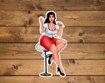 Chubby Girl Sticker, Fat girl sticker, laptop sticker, hydro flask sticker, water bottle sticker, waterproof Vinyl sticker