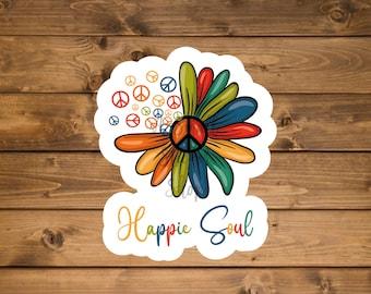 Peace Sticker, Hippie Sticker, Happy Soul Sticker, Peace Sign Sticker, Laptop Sticker, Hydro Flask Sticker, Waterproof Vinyl Sticker