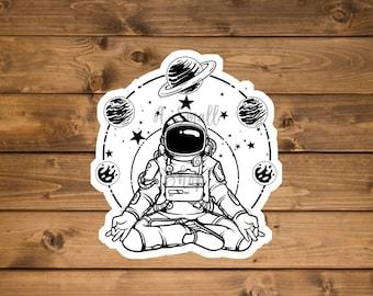 Yoga sticker, Astronaut sticker, Meditation sticker, Planet sticker, Galaxy sticker, laptop sticker, waterproof vinyl sticker