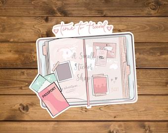 Time to travel Sticker, Waterproof vinyl sticker, cute travel stickers, Pink laptop stickers, hydro flask sticker, die cut stickers