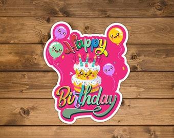 Happy Birthday Decal, Happy Party sticker, Waterproof vinyl sticker, Birthday Party sticker, birthday sticker balloons, Die cut sticker
