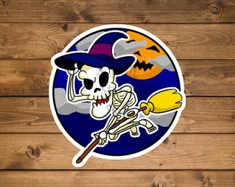 Skeleton witch sticker, Funny Halloween sticker, Horror sticker, Decorative Halloween sticker, Laptop sticker, Waterproof vinyl sticker