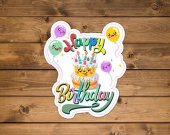 Happy birthday sticker, Party sticker, Waterproof vinyl sticker, Birthday Party sticker, birthday sticker balloons, Die cut sticker