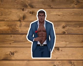 African American Male Model Sticker, Waterproof vinyl sticker, Laptop sticker, water bottle sticker, Hydro flask sticker, die cut sticker