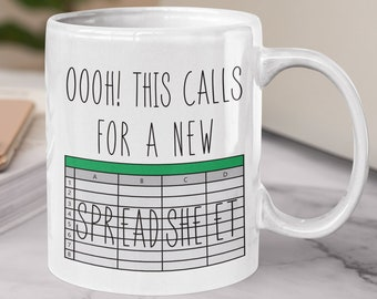 Oooh this calls for a spreadsheet. unique coffee or tea gift mug. great for a cpa, accountant, it or engineer. fun b day or christmas gift.