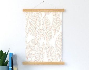 Banana Leaves Outline in Orange Wall Hang