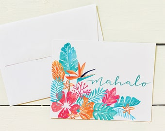 Watercolor Bouquet Mahalo Note Card Set - Set of 6 Note Cards w/ Coordinating Envelope - Stationery Paper