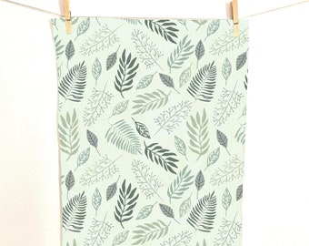 Green Leaves Tea Towel on Linen Cotton Canvas