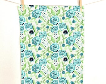 Blue Roses Tea Towel on Linen Cotton Canvas