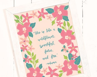 LARGE Pink Wildflower Quote Wall Art - INSTANT DOWNLOAD, Downloadable Art, Printable Wall Art, Printable, Poster