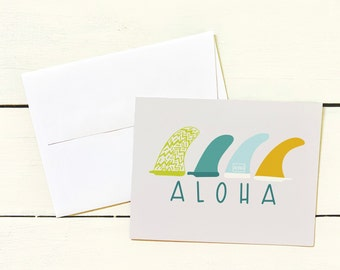 SURFBOARD FINS ALOHA Note Card Set- Set of 6 Note Cards w/ Coordinating Envelope - Stationary Paper