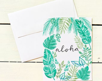 Aloha Tropical Jungle Folded Note Card Set- Set of 6 Note Cards w/ Coordinating Envelope - Stationary Paper