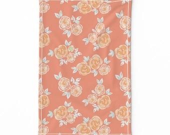 Orange Roses Bouquet Tea Towel Watercolor Art printed on Linen Cotton Canvas