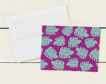 Purple Monstera Note Card Set- Set of 6 Note Cards w/ Coordinating Envelope - Stationary Paper
