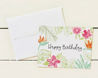Happy Birthday Note Card Set- Set of 6 Note Cards w/ Coordinating Envelope - Stationary Paper