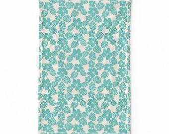 Blue Hibiscus Tea Towel printed on Linen Cotton Canvas