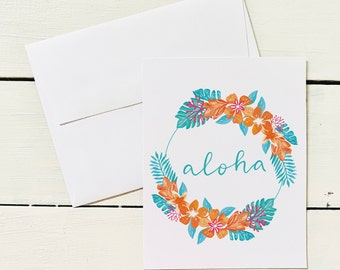 Aloha Wreath Folded Note Cards- Set of 6 Cards w/ Coordinating Envelope