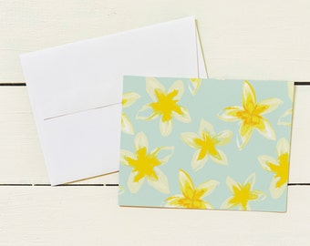 Plumeria Folded Note Card Set- Set of 6 Note Cards w/ Coordinating Envelope - Stationary Paper