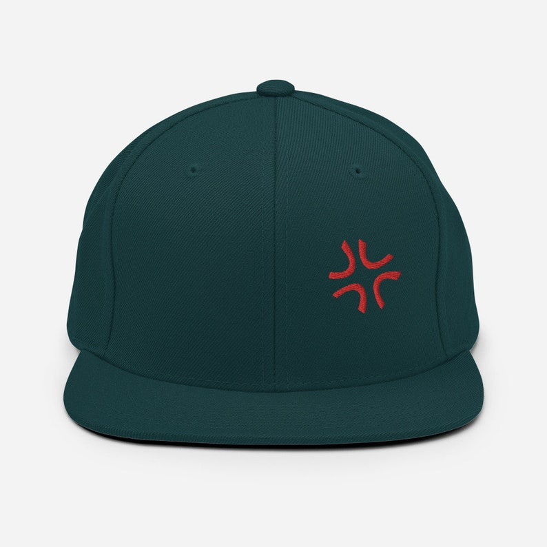 Angry Anime Embroidery Snapback Hat
