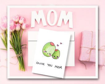Olive You Cute Anniversary Mothers Day Card Punny