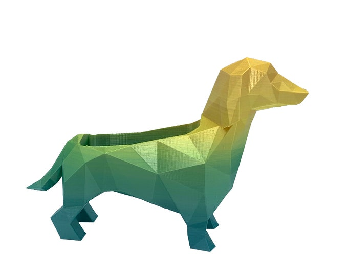 3D Printed Geometric Dachshund Planter - Flower Pot