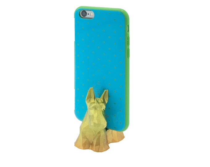 3D Printed Geometric Scottish Terrier mobile phone stand - iPhone stand - cellphone stand - display - smartphone desk decor - gift for her