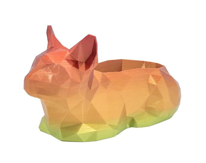 3D Printed Geometric Cat Planter - Flower pot