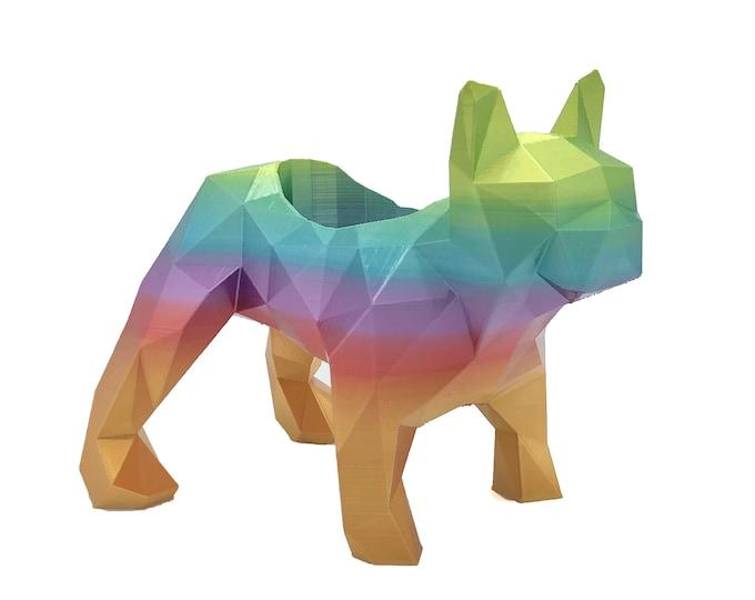 3D Printed Geometric Bulldog Planter - Flower Pot