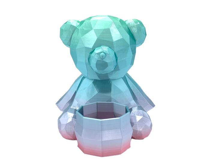 3D Printed Geometric Cute Teddy Bear Planter - Flower pot