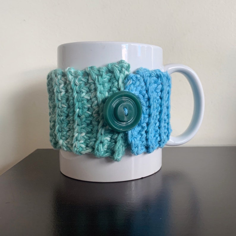 Blue and Green Multicolored Cotton Mug Sleeve image 0