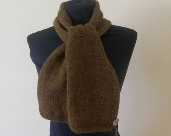 Brown / green alpaca scarf, gender neutral, super warm and made from an alpaca and wool blend. Comes with KnitClaire button and spare yarn