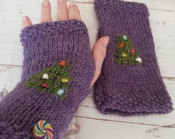 Bauble and tinsel Christmas tree fingerless gloves. Hand knitted in an alpaca and wool mix. Purple with a green tree and coloured baubles