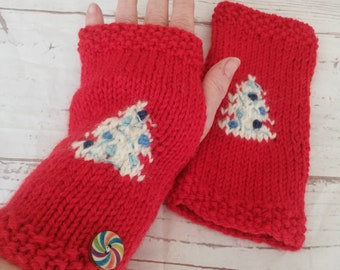 Red white and blue Christmas gloves featuring a cream tree with baubles and shiny blue tinsel. Hand knitted in the UK in alpaca and wool mix
