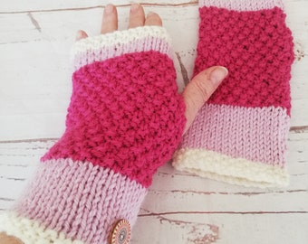 Sherbert pink vibrant hand knitted fingerless gloves. Part of my Shades of Pin range knitted in an alpaca anad wool mix,warm and cosy