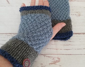 Airforce Blue and grey hand knitted fingerless gloves. Knitted in an alpaca and wool mix. Keep your fingers warm for any outside activity