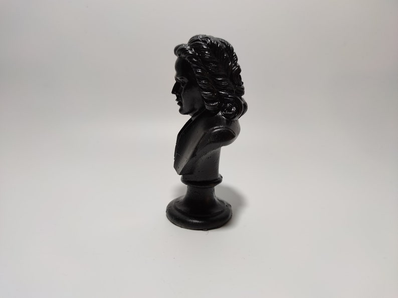 Mini Bach Pure Black Bust Decorative Antique Mythology Art Trendy Handmade Ancient Statue Modern Home Musician Composer Sculpture