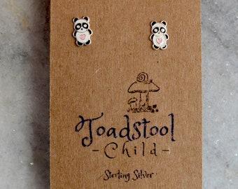 Sterling Silver - Panda bear studs/ earrings / kids jewelry / Childrens Jewelry / Childrens Earrings
