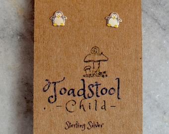 Sterling Silver - Penguin studs/ earrings / kids jewelry / Childrens Jewelry / Childrens Earrings