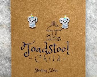 Sterling Silver - koala studs/ earrings / kids jewelry / Childrens Jewelry / Childrens Earrings
