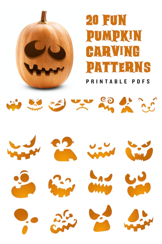 20 Printable jack-o-lantern pumpkin carving patterns for
