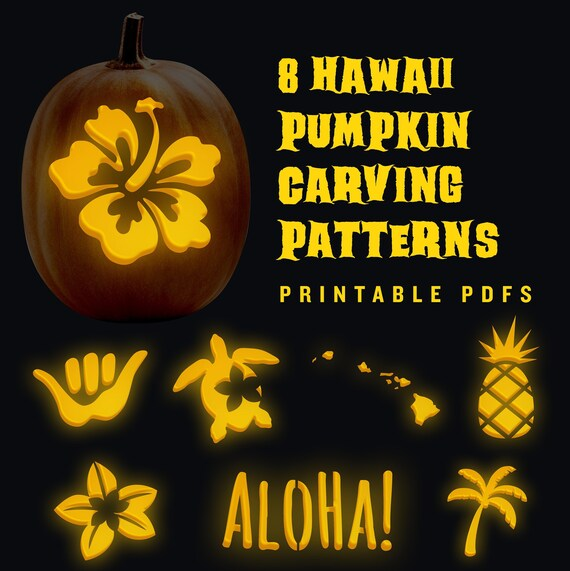 8 Hawaiian pumpkin carving jack-o-lantern patterns for