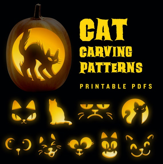 10 Halloween cat pumpkin carving jack-o-lantern patterns