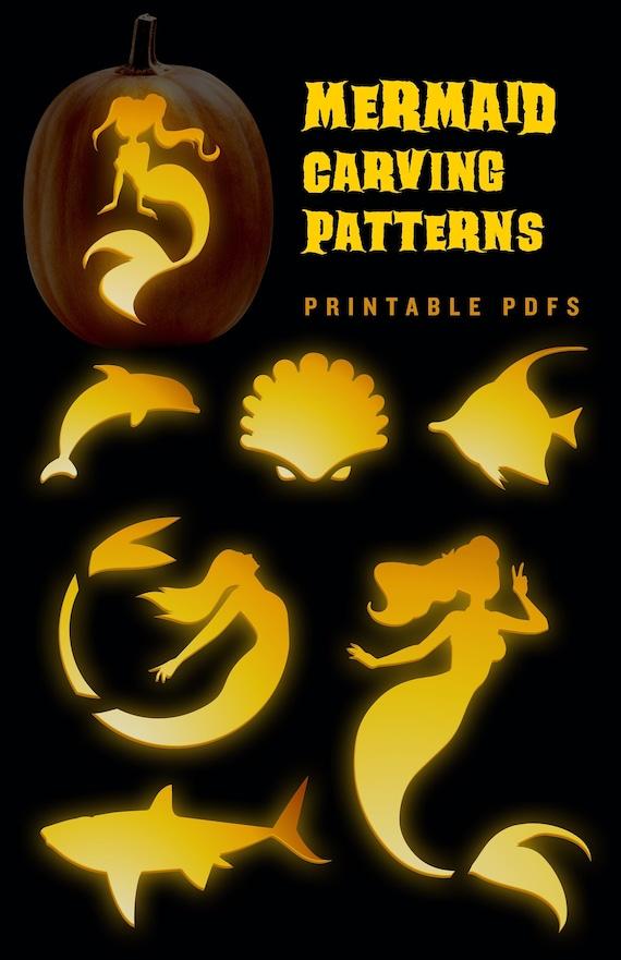 Mermaid Pumpkin Carving Patterns  Templates for Halloween